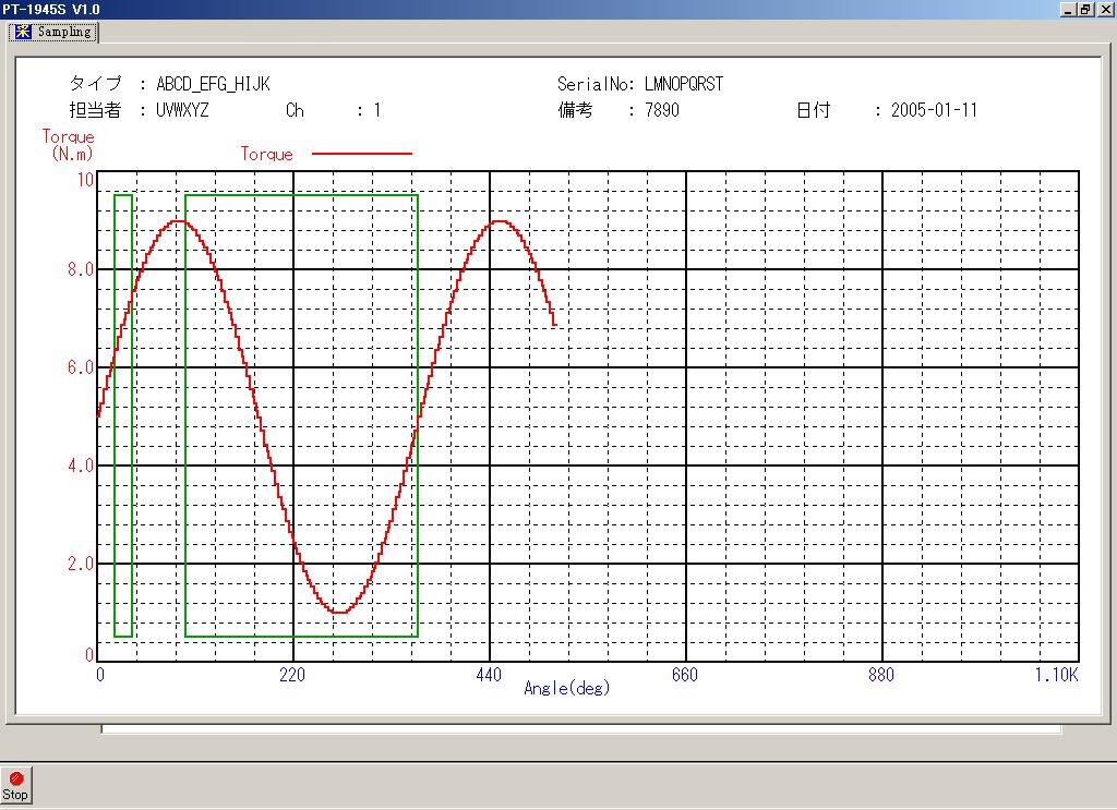 ダンパー・ヒンジトルク測定機のグラフ画面_角度制御