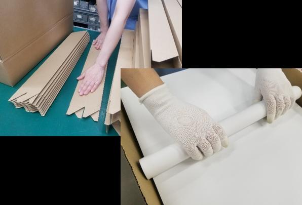 ポスターの手巻き作業と箱折り_手作業ラインの一例