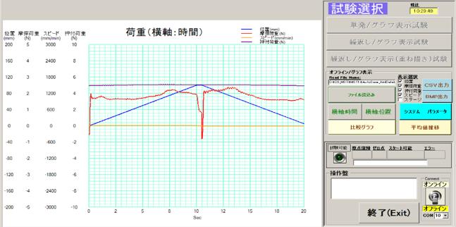 摩擦摺動試験機_グラフ画面